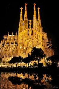 La Sagrada Familia at Night, Barcelona, Catalonia, Spain
